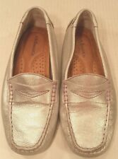 BASS Daisy Slip On Loafer Flats Mocassin Slippers Shoes Silver Youth Girls 13M