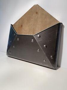 Metal & Wood Hanging Envelope Mail Holder Organizer