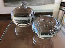 Vintage Clear Art Glass Apple Paperweight Pair Controlled Bubble