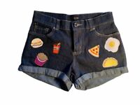 Denim Shorts With Assorted Rock N/' Roll Patches