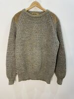 Brenire Scottish Grey Knit Wool Mens Jumper With Suede Patches Size L EUC