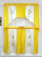 Very Fruits 3pcs swag & tier set / cafe curtain set. Yellow Pear
