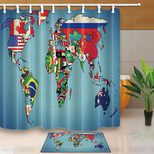 World map National Flag Polyester Fabric Bathroom Shower Curtain Liner Bath Mat