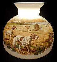 "New 10"" Opal Glass Student Oil Lamp Shade Pheasant Bird Dog Hunt Scene USA #016"