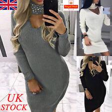 UK Womens Beading Choker Neck Jumper Dress Ladies Sweater Mini Midi Dresses Tops