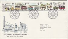 GB Stamps First Day Cover Liverpool Manchester Railway, steam etc SHS Wheel 1980
