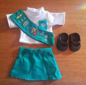 Junior Scout Uniform Outfit for AMERICAN GIRL Doll 5 pieces with Shoes - Clean