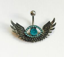 Angel Wing Crystal Eye  Navel / Belly Bar - 10mm Surgical Steel
