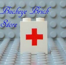 LEGO WHITE PANEL 1x2x2 - Red Cross Pattern AMBULANCE Doctor Nurse Hospital