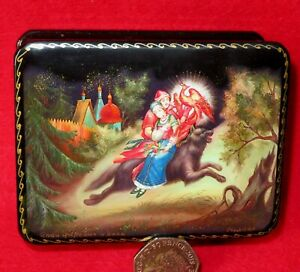 GICLEE LACQUER Box Fairy tale Tsarevitch Ivan Fire Bird Wolf small signed