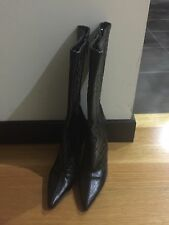 Via Spiga Croc-Embossed Leather Boots -- Size 7 -- Made in Italy