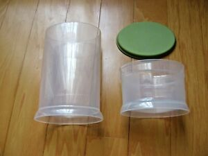 Pampered Chef Herb Keeper #1789 Green Lid Cover 3 Pc Set Oval Canister Container