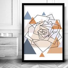Geometric ROSE Art Print Poster MODERN Wall Decor Blue Copper Scandinavian