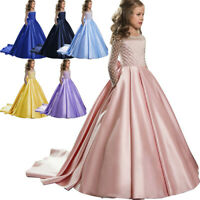 Kids Girls Bowknot Princess Pageant Gown Party Birthday Wedding Long Dress