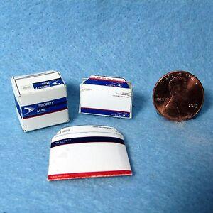 Dollhouse Miniature Replica USPS Box and Envelope Mailing Set HR56014
