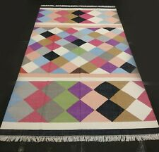 Flat Woven Cotton Kilim Area Rug Diamond Design 5x8 Feet Dhurrie DN-365