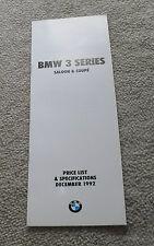 BMW 3 Series E36 Prezzo & SPECIFICHE 1992 BERLINA COUPE 325i 320i 318is 316i