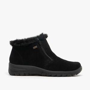 Rieker L7163-00 TEX Ladies Womens Autumn Zip Up Suede Warm Ankle Boots Black