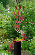 Modern Abstract Red Metal Art Garden Sculpture Home Decor - Red Transitions