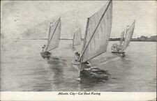 Atlantic City NJ Cat Boat Racing c1910 Postcard