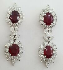 18k White Gold 7.19 ct Oval Cut Ruby & Round Marquise Diamond Dangling Earrings