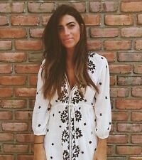 New Bohemian Women's Festival Black White Floral Embroidered Midi Maxi Dress  S