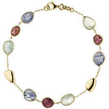 1mm Bracelet with Tourmalines in Red, Blue and Light Blue 585 Yellow Gold, 19cm