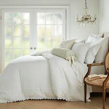 Wamsutta Vintage Lantier Duvet Cover & 2 Shams White King Linen/Cotton $230