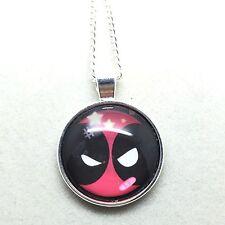 925 Silver Plt Cabochon Deadpool Star Pendant Necklace Ladies Girls  Gift Marvel