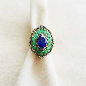 Natural Emerald Tanzanite Diamond 925 Sterling Silver Cocktail Rng Gift Her