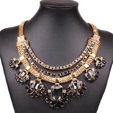 Fashion Women Bib Flower Crystal Pendant Statement Chain Chunky Choker Necklace
