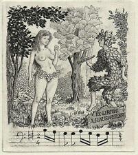 Mark SEVERIN Music Erotik Exlibris Musik Erotic Nude Copper Engraving C2 #468