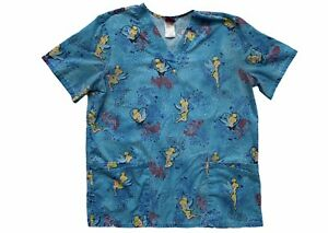 Disney Women's Scrubs Top Sz Medium Tinkerbell Blue Shirt Medical Nurse