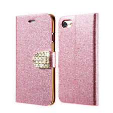 New Bling Diamond Leather Flip Stand Card Wallet Case Cover For iPhone Samsung S