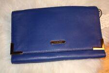 Michael Kors Blue Genuine Leather Beverly Clutch/Shoulder Bag
