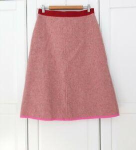Orla Kiely Pink Brown Tweed Wool Aline Midi Skirt Size 3 UK12