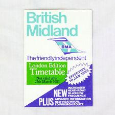 British Midland Della Compagnia Aerea Timetable (tabella Orari) Londinese