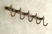 Antique Brass Bathroom Towel Coat Hooks Five Robe Hook Hanger Holder sba517