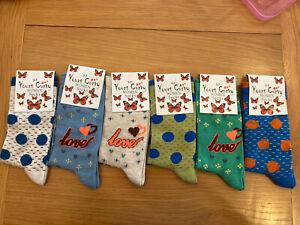 Bundle 6 Pairs Socks - 85% Cotton - Size 3-7 - BNWT