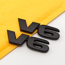 2Pcs Car Badge Metal V6 Emblem Black Engine Turbo Sports Fender Trunk Sticker