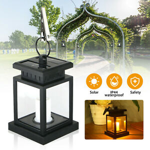 Solar Powered LED Candle Lights Table Lantern Hanging Garden Outdoor Coach Lamp