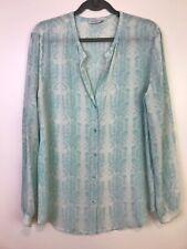 Equipment womens blouse Faye shirt L silk blue long sleeve button front v-neck