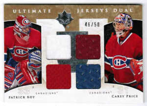 09/10 2009 UD ULTIMATE PATRICK ROY CAREY PRICE DUAL JERSEY 50 MONTREAL CANADIENS
