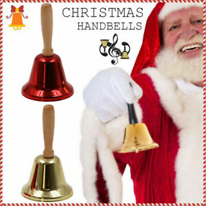 Classic Metal Christmas Hand Bell Xmas New Year Santa Party Celebrate Rattle