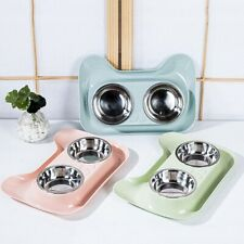 BL_ Dog Cat Stainless Steel Double Bowl Spill-Proof Food Water Feeding Supply Ea