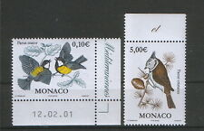 MONACO-MNH** TWO STAMPS-FAUNA-BIRDS-2002.
