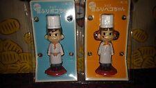 "AUTH Japan FUJIYA Milky Candy 3.5"" Peko & Poco Chef Bobble Head Doll Figure SET"