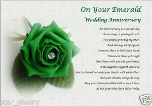 EMERALD WEDDING ANNIVERSARY GIFT  - Personalised Poem  (Laminated Gift)