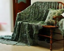 "Shabby~Hand Crochet BIG Size Bedspread/Sheet~Greyish Green~90""*100""~FABULOUS~"