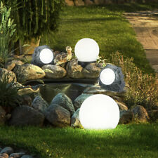 Set of 4 LED Solar Lamps Garden Path Ball Plug Lights Decoration Stone Spotlight